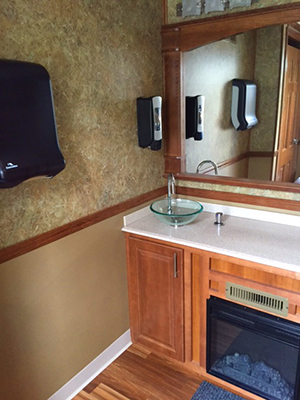 7 Station Luxury Trailer Sink with Fireplace